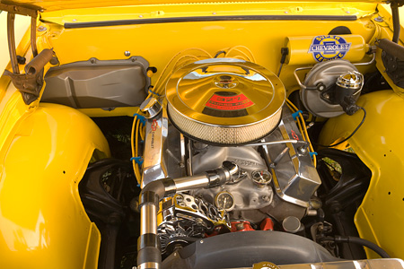 AUT 30 RK2775 01 © Kimball Stock 1965 Chevrolet, El Camino, Yellow Detail Engine Shot