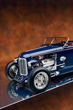 AUT 30 RK2847 01 © Kimball Stock 1932 Speedway, Special, Roadster Blue 3/4 Front Detail Engine Shot