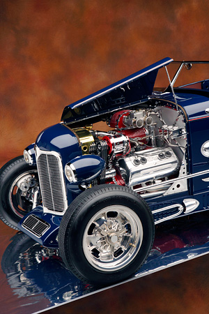 AUT 30 RK2848 01 © Kimball Stock 1932 Speedway, Special, Roadster Blue 3/4 Front Detail Engine Shot