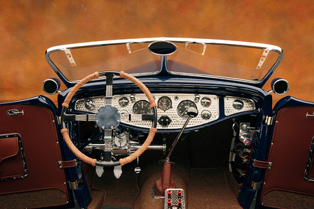 AUT 30 RK2851 01 © Kimball Stock 1932 Speedway Special Roadster Blue Detail Interior