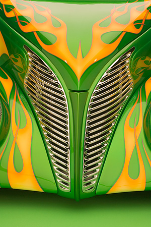 AUT 30 RK2934 01 © Kimball Stock 1939 Ford Sedan Green With Flames Detail Front Hood And Grill