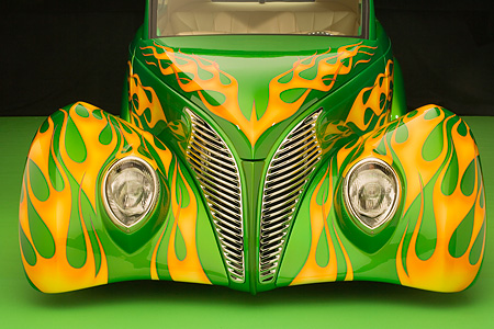 AUT 30 RK2937 01 © Kimball Stock 1939 Ford Sedan Green With Flames Detail Front Hood Grill And Headlights