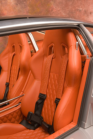 AUT 30 RK2940 01 © Kimball Stock 2005 Spyker C8 Double 12 S Silver Detail Interior Shot