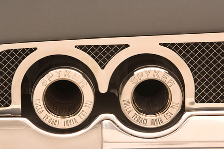 AUT 30 RK2942 01 © Kimball Stock 2005 Spyker C12 La Turbie Spyder Gray Detail Exhaust Pipes