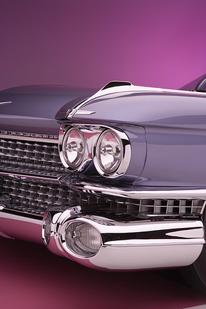 AUT 30 RK3075 01 © Kimball Stock 1959 Cadillac El Dorado Seville Cabriolet Lavender Detail Front Grill And Headlight