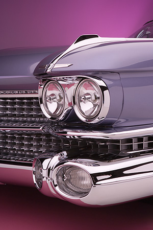 AUT 30 RK3075 02 © Kimball Stock 1959 Cadillac El Dorado Seville Cabriolet Lavender Detail Front Grill And Headlight