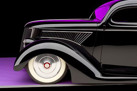 AUT 30 RK3318 01 © Kimball Stock 1936 Ford Cole Foster 3 Window Coupe Black Detail Studio