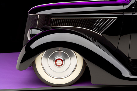 AUT 30 RK3319 01 © Kimball Stock 1936 Ford Cole Foster 3 Window Coupe Black Detail Studio