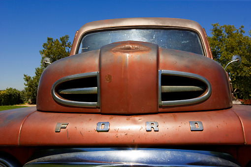 AUT 30 RK3388 01 © Kimball Stock 1948 Ford F1 Unrestored Red Pick Up Truck Detail