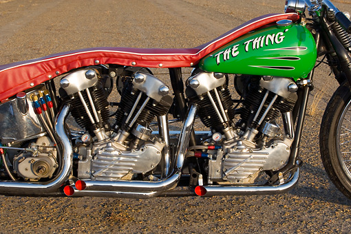 AUT 30 RK3415 01 © Kimball Stock 1947 Harley Davidison Dual Knucklehead Green And Red Detail Engine And Tank Shot