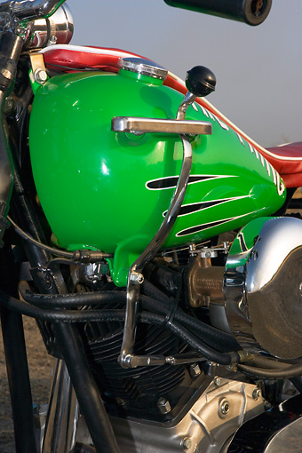 AUT 30 RK3417 01 © Kimball Stock 1947 Harley Davidison Dual Knucklehead Green And Red Detail Of Gas Tank
