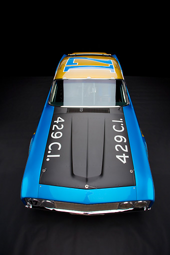 AUT 30 RK3566 01 © Kimball Stock 1969 Ford Torino Talladega Race Car Blue And Gold Detail