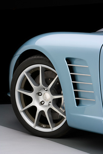 AUT 30 RK3962 01 © Kimball Stock 2007 Chevrolet Corvette Callaway C16 Speedster Light Blue 3/4 Rear View Front Wheel And Side Vent Detail