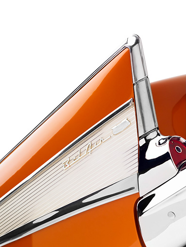 AUT 30 RK3989 01 © Kimball Stock 1957 Chevrolet Bel Air Convertible Serra Gold Rear Detail Studio