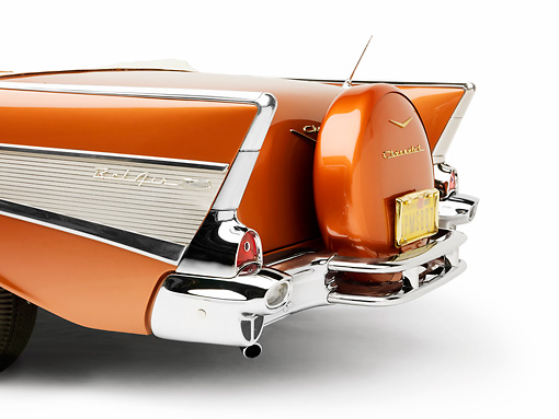 AUT 30 RK3990 01 © Kimball Stock 1957 Chevrolet Bel Air Convertible Serra Gold Rear Detail Studio
