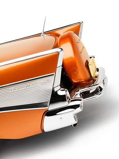 AUT 30 RK3991 01 © Kimball Stock 1957 Chevrolet Bel Air Convertible Serra Gold Rear Detail Studio