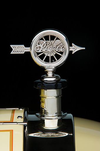 AUT 30 RK4034 01 © Kimball Stock 1917 Pierce-Arrow Touring Model 48 Yellow Radiator Cap Detail Studio