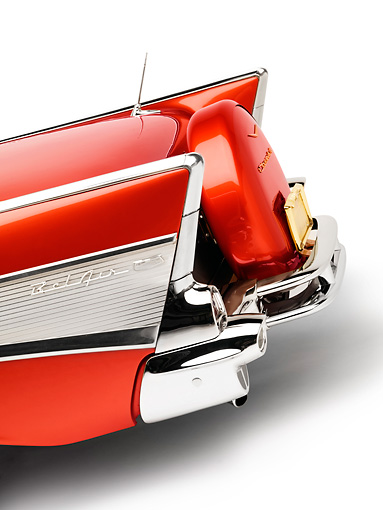 AUT 30 RK4048 01 © Kimball Stock 1957 Chevrolet Bel Air Convertible Red Tailfin Detail Studio