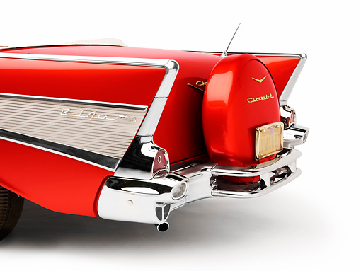 AUT 30 RK4049 01 © Kimball Stock 1957 Chevrolet Bel Air Convertible Red Tailfin Detail Studio