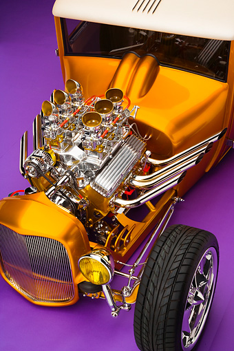 AUT 30 RK4050 01 © Kimball Stock 1927 Ford Coupe Hot Rod Orange Engine Detail Studio