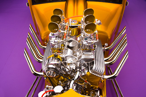 AUT 30 RK4052 01 © Kimball Stock 1927 Ford Coupe Hot Rod Orange Engine Detail Studio