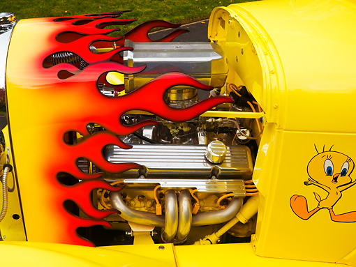 AUT 30 RK4074 01 © Kimball Stock 1929 Ford Hot Rod Yellow Convertible Engine Detail