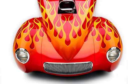 AUT 30 RK4115 01 © Kimball Stock 1941 Willys Coupe Hot Rod Red With Flames Overhead Head On View Detail Studio