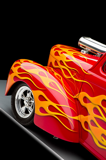 AUT 30 RK4119 01 © Kimball Stock 1941 Willys Coupe Hot Rod Red With Flames Front Wheel Detail Studio