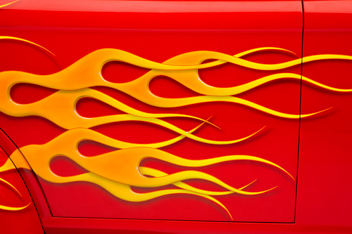 AUT 30 RK4121 01 © Kimball Stock 1941 Willys Coupe Hot Rod Red With Flames Door Detail Studio