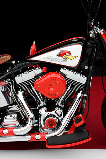 AUT 30 RK4143 01 © Kimball Stock 2006 Harley-Davidson Motorcycle Black And Red Custom Detail Studio