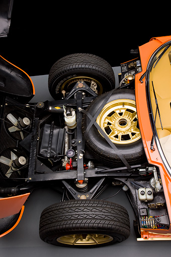 AUT 30 RK4163 01 © Kimball Stock 1972 Lamborghini Miura Orange Front End Detail Studio