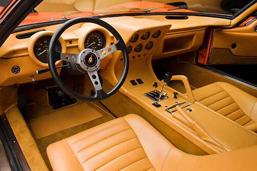 AUT 30 RK4168 01 © Kimball Stock 1972 Lamborghini Miura Orange Interior Detail Studio