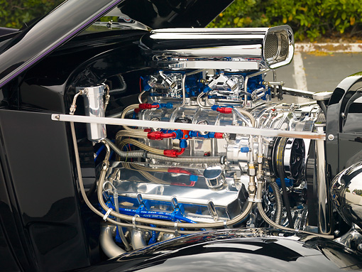 AUT 30 RK4300 01 © Kimball Stock 1934 Chevrolet Phaeton Hot Rod Black Engine Detail