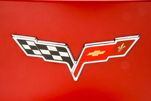 AUT 30 RK4304 01 © Kimball Stock 2008 Chevrolet Corvette 427 Limited Edition Z06 Coupe Red Emblem Detail Studio