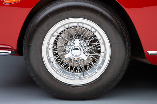 AUT 30 RK4348 01 © Kimball Stock 1965 Ferrari 275 GT/B Red Front Wheel Detail Studio