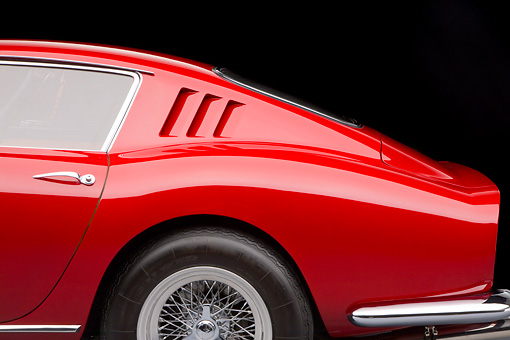 AUT 30 RK4350 01 © Kimball Stock 1965 Ferrari 275 GT/B Red Quarter Panel Detail Studio
