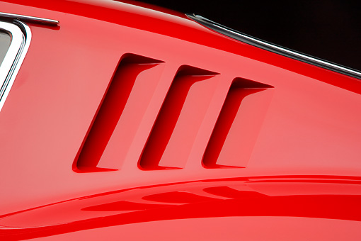 AUT 30 RK4351 01 © Kimball Stock 1965 Ferrari 275 GT/B Red Quarter Panel Detail Studio
