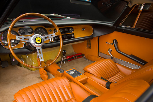 AUT 30 RK4363 01 © Kimball Stock 1965 Ferrari 275 GT/B Red Interior Detail Studio
