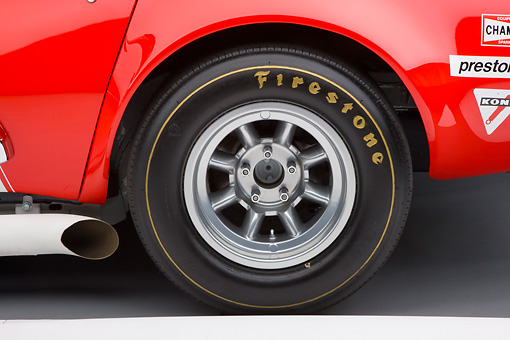 AUT 30 RK4383 01 © Kimball Stock 1968 Owens/Corning Chevrolet Corvette Race Car White & Red Rear Wheel Detail Studio
