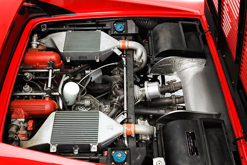 AUT 30 RK4394 01 © Kimball Stock 1985 Ferrari 288 GTO Red Engine Detail Studio