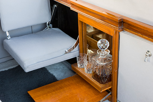 AUT 30 RK4409 01 © Kimball Stock 1931 Rolls-Royce Phantom II Interior Bar Detail