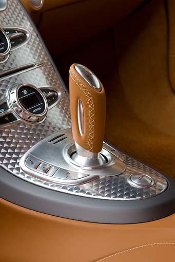 AUT 30 RK4416 01 © Kimball Stock 2008 Bugatti Veyron 16.4 Grand Sport Roadster Gold And White Interior Detail Studio