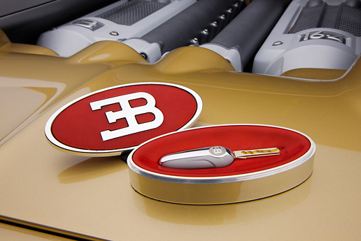 AUT 30 RK4422 01 © Kimball Stock 2008 Bugatti Veyron 16.4 Grand Sport Roadster Gold And White Emblem Detail Studio