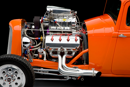 AUT 30 RK4430 01 © Kimball Stock 1934 Plymouth 5-Window Coupe Hot Rod Orange Engine Detail Studio