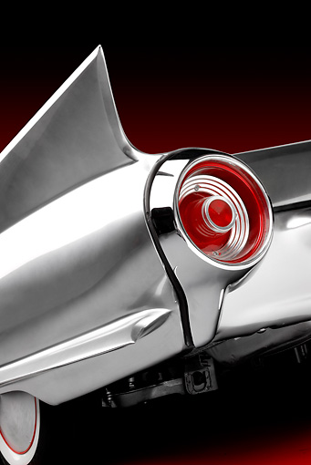 AUT 30 RK4437 01 © Kimball Stock 1961 Ford Thunderbird Silver Custom ThunderFlite Brake Light Detail Studio