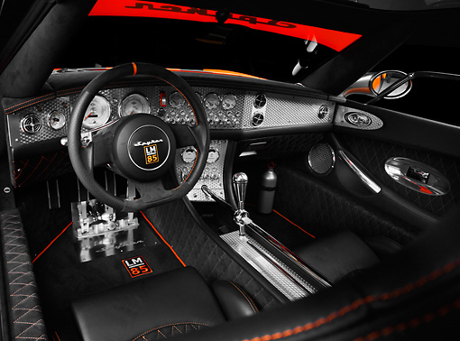 AUT 30 RK4463 01 © Kimball Stock 2009 Spyker C8 Laviolette LM85 Orange And Black Interior Detail Studio
