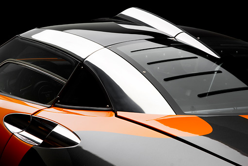 AUT 30 RK4464 01 © Kimball Stock 2009 Spyker C8 Laviolette LM85 Orange And Black Roof Detail Studio