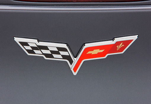 AUT 30 RK4468 01 © Kimball Stock 2009 Chevrolet Corvette ZR1 Black Emblem Detail Studio