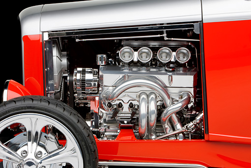 AUT 30 RK4493 01 © Kimball Stock 1932 Ford Highboy Roadster Hot Rod Silver And Red Engine Detail Studio