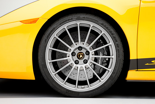 AUT 30 RK4510 01 © Kimball Stock 2008 Lamborghini Gallaro Superleggera Yellow Front Wheel Detail Studio